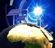 Solenergi föreställer jordvänskapsmatch och elkraft royaltyfri illustrationer