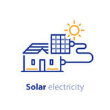 Solenergi, solpaneler, hem- lösning, elektricitetsservicelinje symbol stock illustrationer
