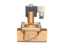 Solenoid valve. Close up solenoid valve isolated on white background.Electric valve for the plumbing in factory Royalty Free Stock Photos