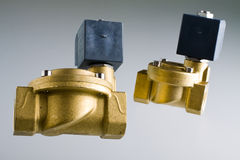 Solenoind valves. Electro solenoid valve. Brass valve with coil Royalty Free Stock Photos