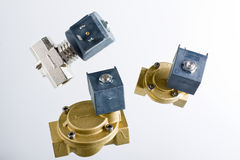 Solenoind valves. Electro solenoid valve. Brass valve with coil Royalty Free Stock Images