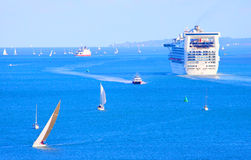 The solent busy shipping lane Royalty Free Stock Image
