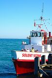 Solent Scene ship along Swanage pier. Stock Photo