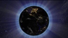Solförmörkelse från utrymme vid jord stock illustrationer