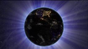 Solförmörkelsen vid jord från utrymme royaltyfri illustrationer