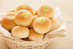 Solf bun with green custard stuff Royalty Free Stock Photos