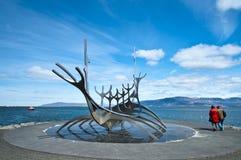 Solfar - скульптура шлюпки корабля солнца Стоковая Фотография
