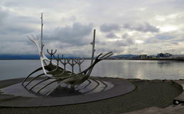 The Solfar - Metal Viking ship sculpture in Reykjavik, Iceland Royalty Free Stock Photos