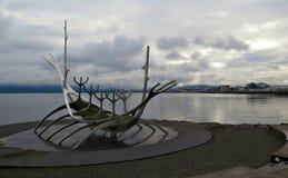 The Solfar - Metal Viking ship sculpture in Reykjavik, Iceland Royalty Free Stock Photos