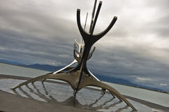 Solfar, Sun Voyager is huge steel sculpture of viking boat Stock Photo