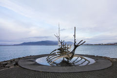 Solfar, Sun voyager sculpter in Reykjavik in Iceland. At dull day Royalty Free Stock Image