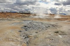 Solfatara fields and platform. Fumarole fields and tourist platform in Kafla mountains, Iceland Stock Images