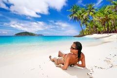 Solferier på den tropiska stranden Arkivbild