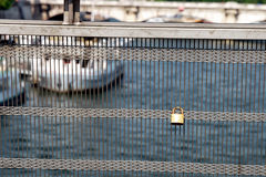 Solferino Bridge in Paris. France. It's a bridge only made for walking, without any car. People put on this bridge a padlock with some heart or love messages Royalty Free Stock Photo