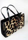 solglasögon för leopardtryckhandväska Arkivfoto