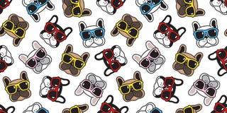 Solglasögon för vektor för fransk bulldogg för modell för hund vänder mot den sömlösa halsduken isolerat klotter för bakgrund för royaltyfri illustrationer