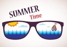 Solglasögon med sommarsikt av havet, havet och fartyget vektor illustrationer