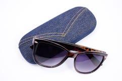 Solglasögon och fall Royaltyfri Foto