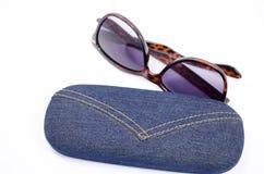 Solglasögon och fall Royaltyfria Foton
