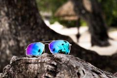 Solglasögon på stranden Royaltyfria Bilder