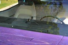 Solglasögon som lägger på en instrumentbräda av en purpurfärgad bil Arkivfoto