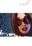 solglasögonkvinna vektor illustrationer