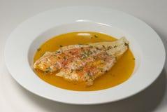 Solha cozida na paprika e no vinho branco Imagem de Stock Royalty Free