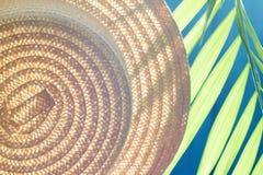 Solhatten och gömma i handflatan abstrakt sommarbakgrund Royaltyfria Foton