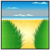 Solhav och härlig strand Arkivbilder