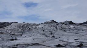 Solheimajokull black and white glacier. Solheimajökull black and white glacier from the ash of the vulcanic eruption royalty free stock images