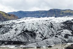 Solheimajokull冰川表面在9月 图库摄影