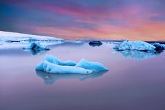 Solheimajokull Glacier in Iceland at sunset Royalty Free Stock Photos