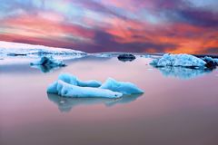 Solheimajokull Glacier in Iceland at sunset Royalty Free Stock Photography