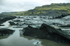 Solheimajokull Glacier in Iceland stock images