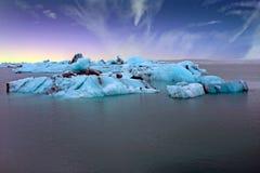 Solheimajokull Glacier in Iceland at sunrise Stock Photo