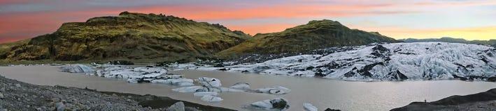 Solheimajokull Glacier in Iceland at sunset Stock Image