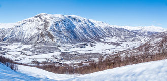 Solheisen Skisenter. Panorama of the region Solheisen Skisenter and valley Grondola. Hemsedal, Norway Stock Photos