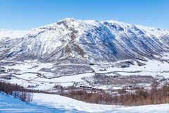 Solheisen Skisenter. View on Solheisen Skisenter and Valley Grondola. Hemsedal, Norway Royalty Free Stock Image