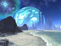 Soli e pianeta gemellare sopra il mondo straniero della spiaggia illustrazione di stock
