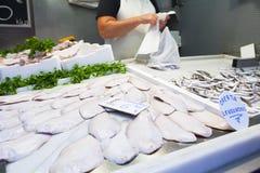 Soli pesci ed acciughe esposti al mercato ittico Fotografia Stock