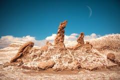 Soli rzeźby są pięknym geological formacją księżyc dolina Obraz Stock