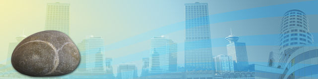 Solid as a rock. This banner / header shows skyscrapers / big buildings on a soft yellow/blue background. The rock is leading to the title Solid as a rock Royalty Free Stock Photo