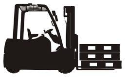 Solid black forklift and pallets. Solid black forklift with solid black three pallets on it Stock Image