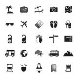 Solid black travel and vacation icon set Royalty Free Stock Photography