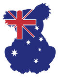 Solid blue silhouette of Australia  in koala Stock Photography
