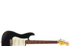 Solid body classic electric guitar at the bottom of white background, with plenty of copy space. Royalty Free Stock Image