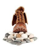 Solid brown boots on the stones Royalty Free Stock Images