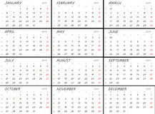 Solid 2014 calendar template. Solid white 2014 calendar template. Weeks start with Mondays royalty free illustration