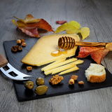 Solid cheeses plate: Dutch solid cheese, olives and walnuts Royalty Free Stock Image