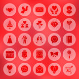 Solid Circle Love Heart Icons Stock Images